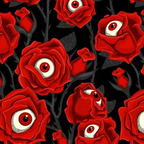 Halloween Roses & Eyeballs - Black