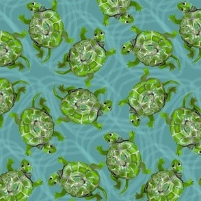 Bright Green Swimming Turtles on Turquoise
