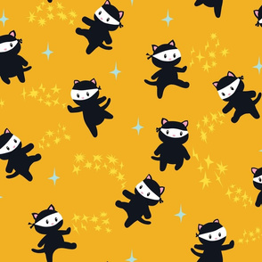 Ninja Cats with Star Power on Yellow Background - Large