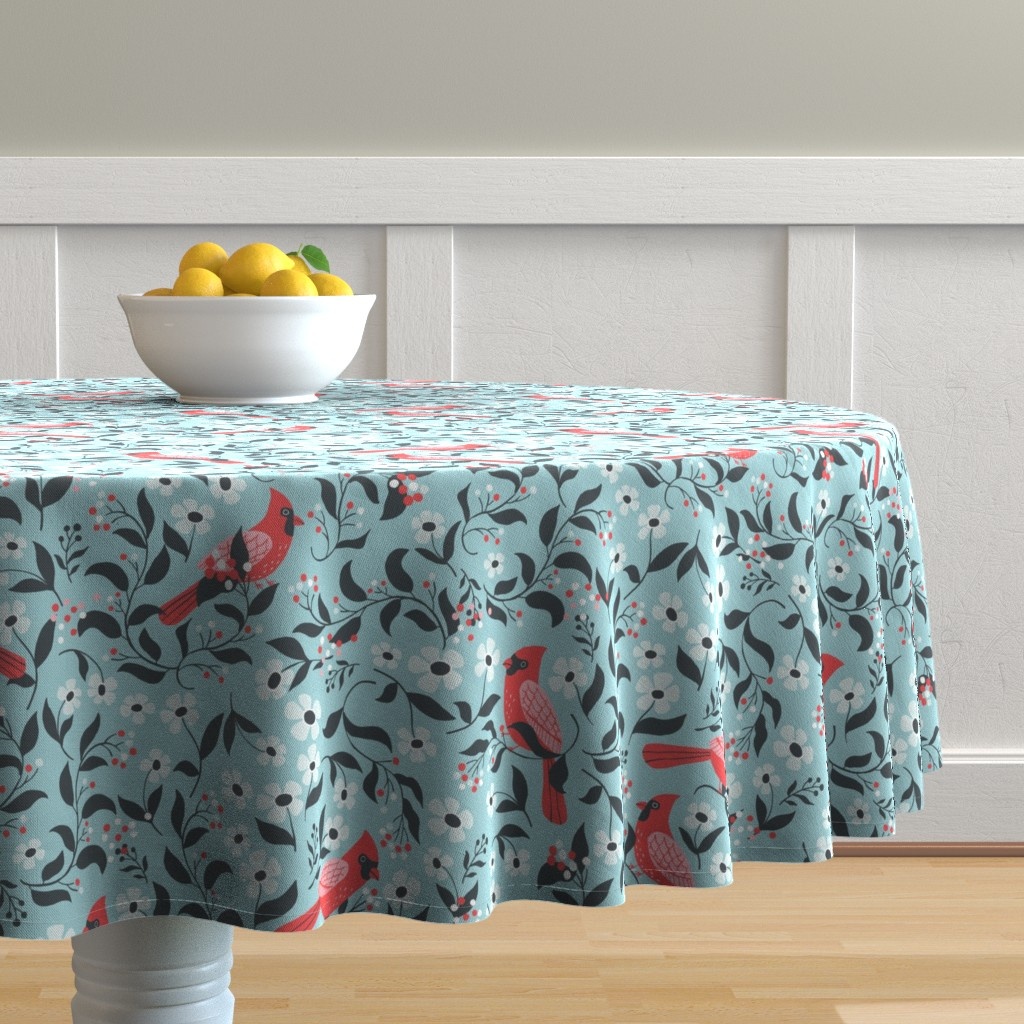 Malay Round Tablecloth featuring Winter cardinals by tatiabaurre