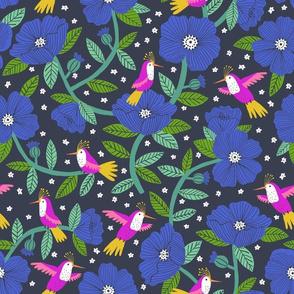 Hummingbird garden in cobalt blue