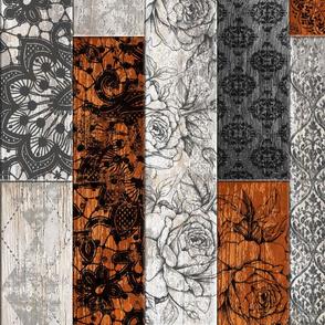 Vintage Wood Tiles Random Burnt Orange Grey