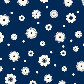 Beige flowers and dots on a dark blue