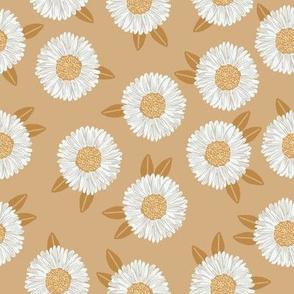 daisy fabric - sfx1225 wheat - nursery fabric, floral fabric, earth toned fabric, trendy floral fabric, baby bedding fabric