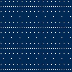 Aligned beige dots over dark blue