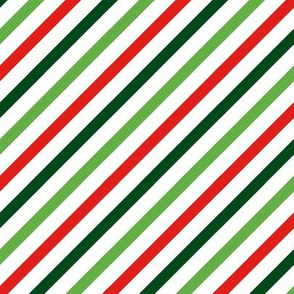 FS Christmas Red, Green and White Diagonal Stripe