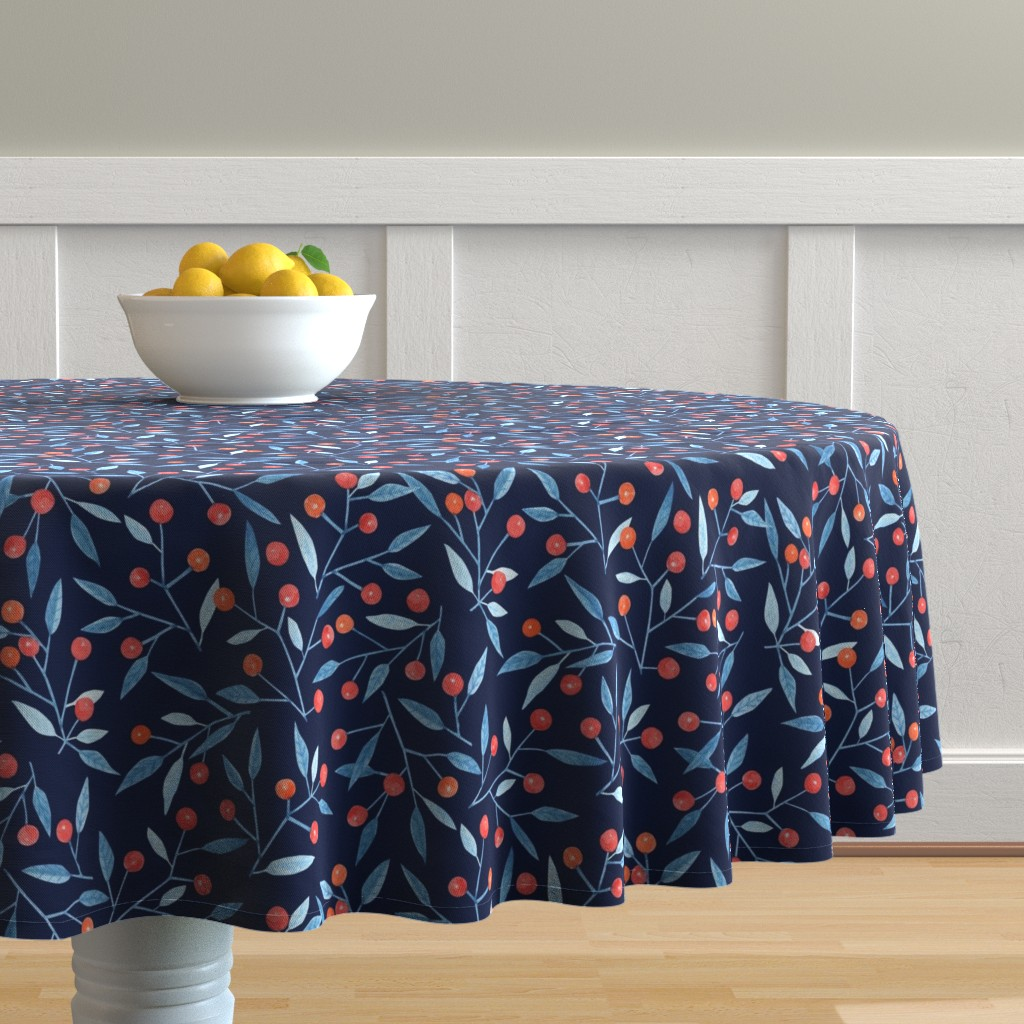 Malay Round Tablecloth featuring Watercolor winter berries on a navy background by charlotte_lorge
