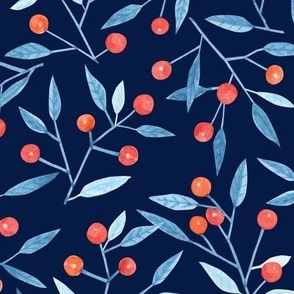 Watercolor winter berries on a navy background
