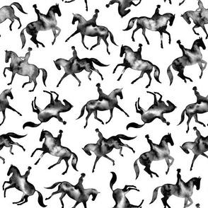 Black Watercolor Dressage Horses – Medium Scale