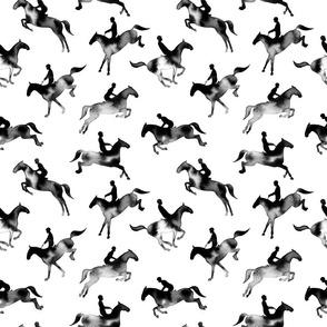 Showjumping Black Watercolor Horses