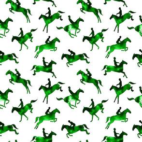 Showjumping Green Watercolor Horses