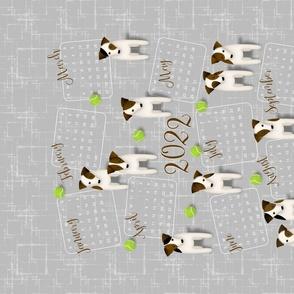 Parson / Jack Russell Terriers 2021 calendar tea towel – blue w white squares accent