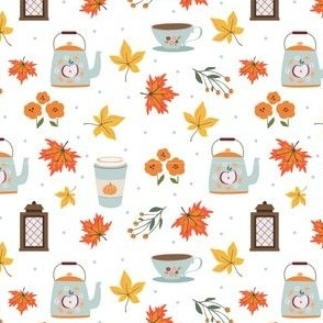 Cup of tea in autumn breeze