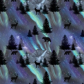 Aurora Borealis Northern Lights MEDIUM with Polar Bears