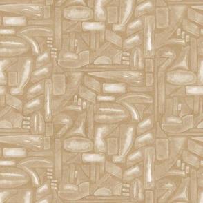 19-12r Block White Camel Tan Neutral Home Decor Khaki