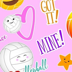 cute kawaii volleyball court is my happy place stickers drop pattern - large
