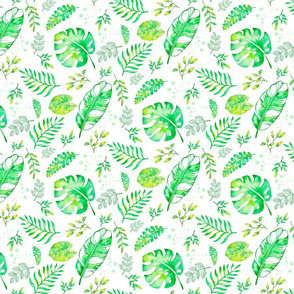 watercolor tropical green leaves - small