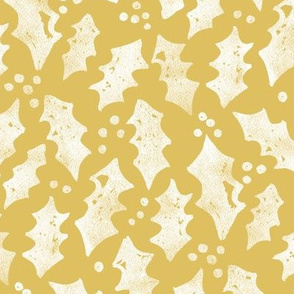 Winter Floral Coord Gold Leaves by Angel Gerardo - Large Scale