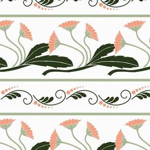 Art Deco Flower Horizontal Stripes