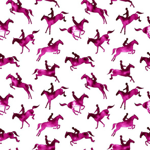 Showjumping Magenta Watercolor Horses