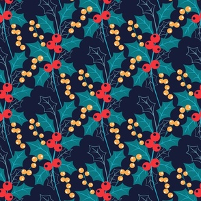 Holly Berry Blue Christmas Winter Flora fabric