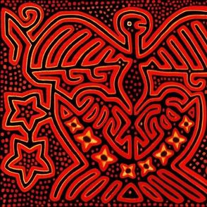 Kuna Indian Eagle - Orange Yellow - Wallpaper