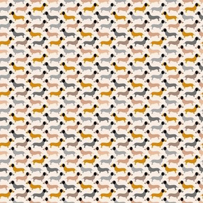 Vintage doxie sausage dogs dachshund illustration pattern gender neutral ochre yellow XXS