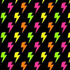 Lightning Bolts Fluorescent on Black