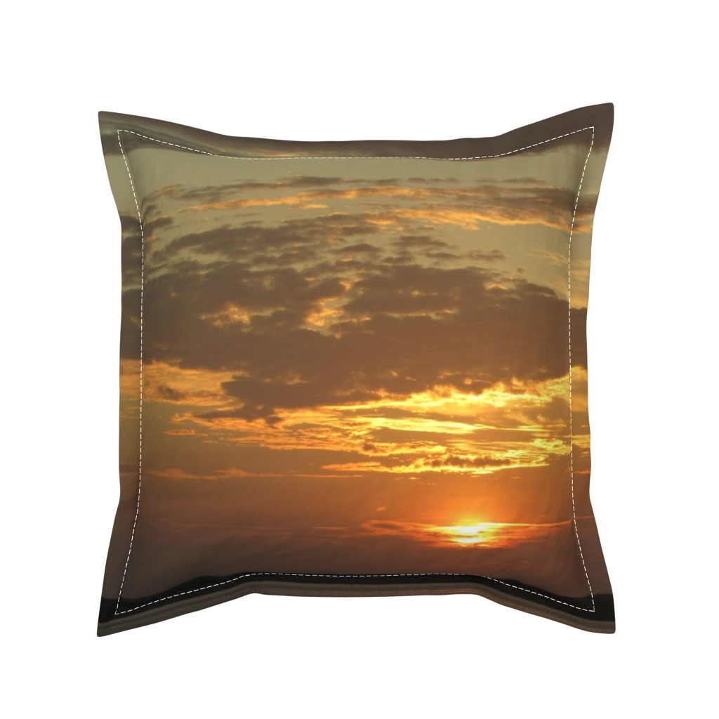 Serama Throw Pillow featuring Sunrise over Assateague by kittykittypurrs