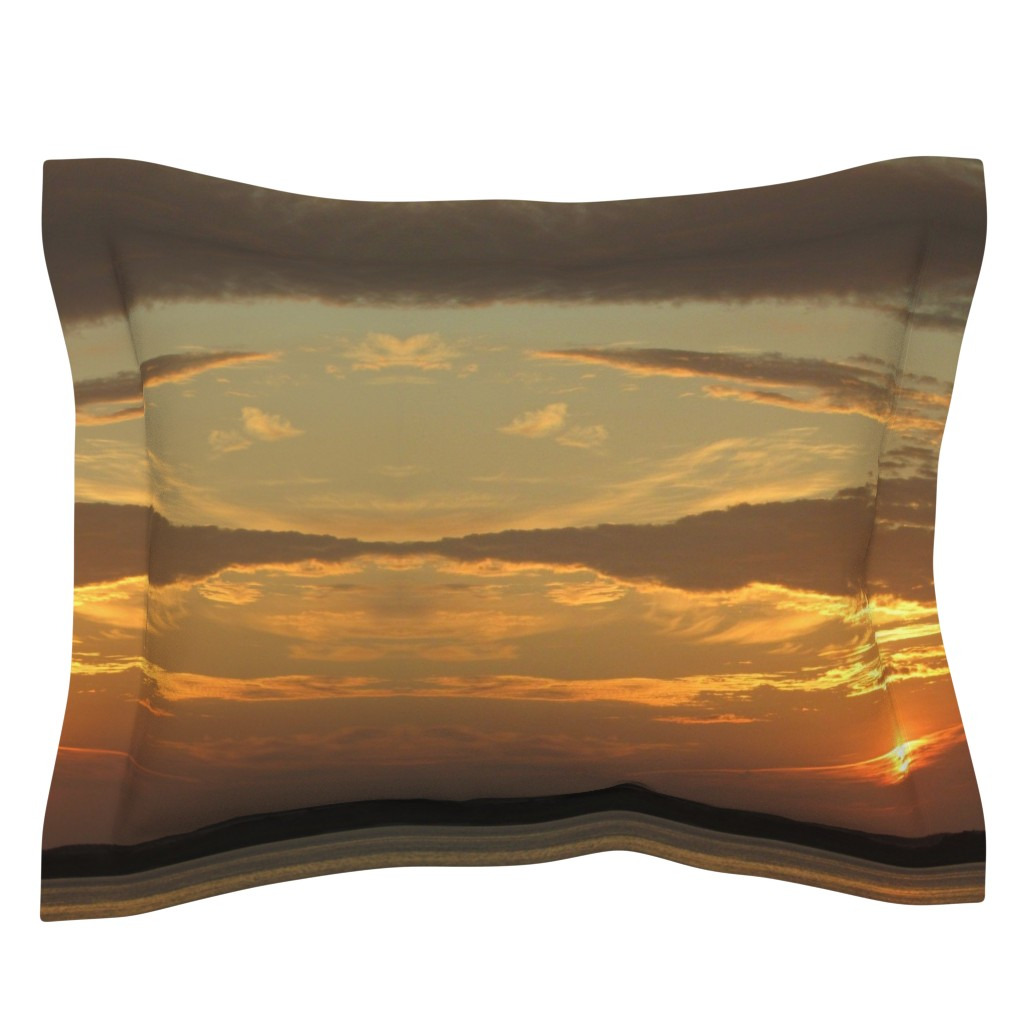 Sebright Pillow Sham featuring Sunrise over Assateague by kittykittypurrs