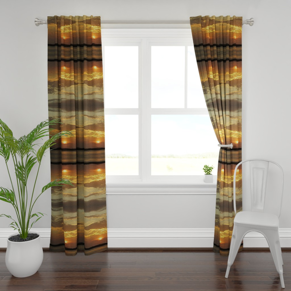 Plymouth Curtain Panel featuring Sunrise over Assateague by kittykittypurrs