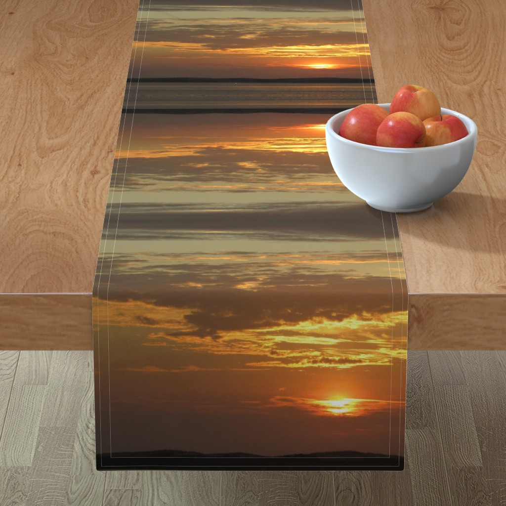 Minorca Table Runner featuring Sunrise over Assateague by kittykittypurrs