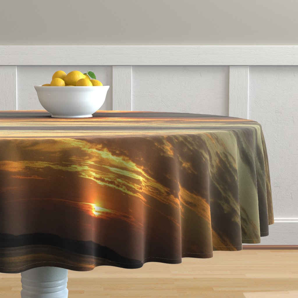 Malay Round Tablecloth featuring Sunrise over Assateague by kittykittypurrs