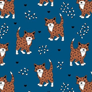 Little baby leopard winter wild cat animal print and hearts sphinx cheetah panther kids blue copper