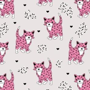 Little baby leopard winter wild cat animal print and hearts sphinx cheetah panther kids girls autumn pink beige