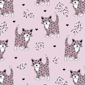 Little baby leopard winter wild cat animal print and hearts sphinx cheetah panther kids girls autumn mauve pink