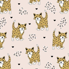 Little baby leopard winter wild cat animal print and hearts sphinx cheetah panther kids neutral ochre creme