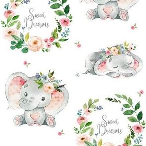 Sweet Dreams Baby Elephant (white)