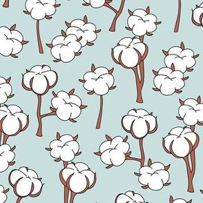 Soft cotton bolls autumn winter garden botanical love soft blue white