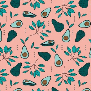 Avocado summer garden leaves and farmer's market design peach green
