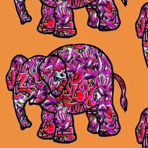 vivid funky graffiti elephant