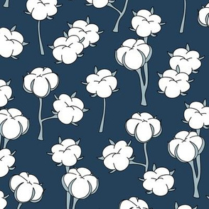 Soft cotton bolls autumn winter garden botanical love soft white blue navy