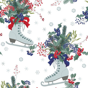 Christmas decoration with frosty berries with ribbon