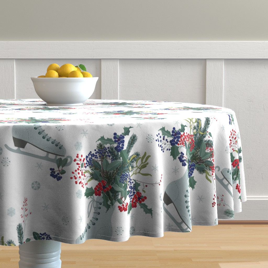 Malay Round Tablecloth featuring Christmas decoration with frosty berries  by boszorka