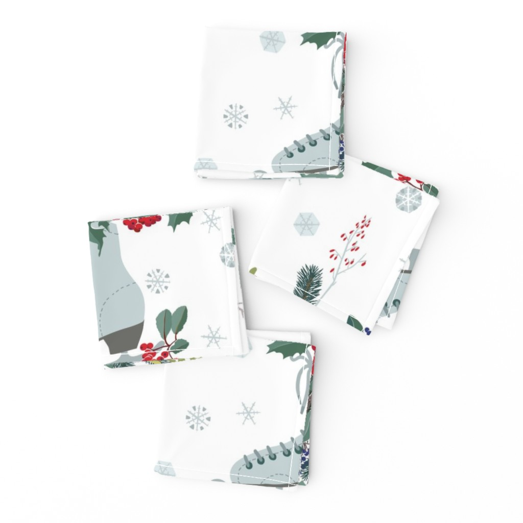 Frizzle Cocktail Napkins featuring Christmas decoration with frosty berries  by boszorka