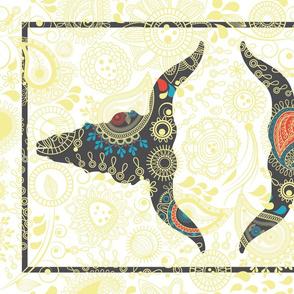 BOHO Folk Art Cow Skull-Tea Towel
