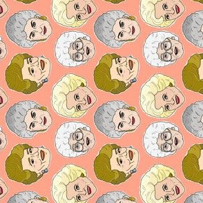 Rotated - Golden Girls Illustration in Peach