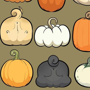 Pumpkins and Pug Butts - dry grass
