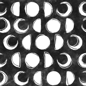 Sketchy Moon Phases on Dark Background