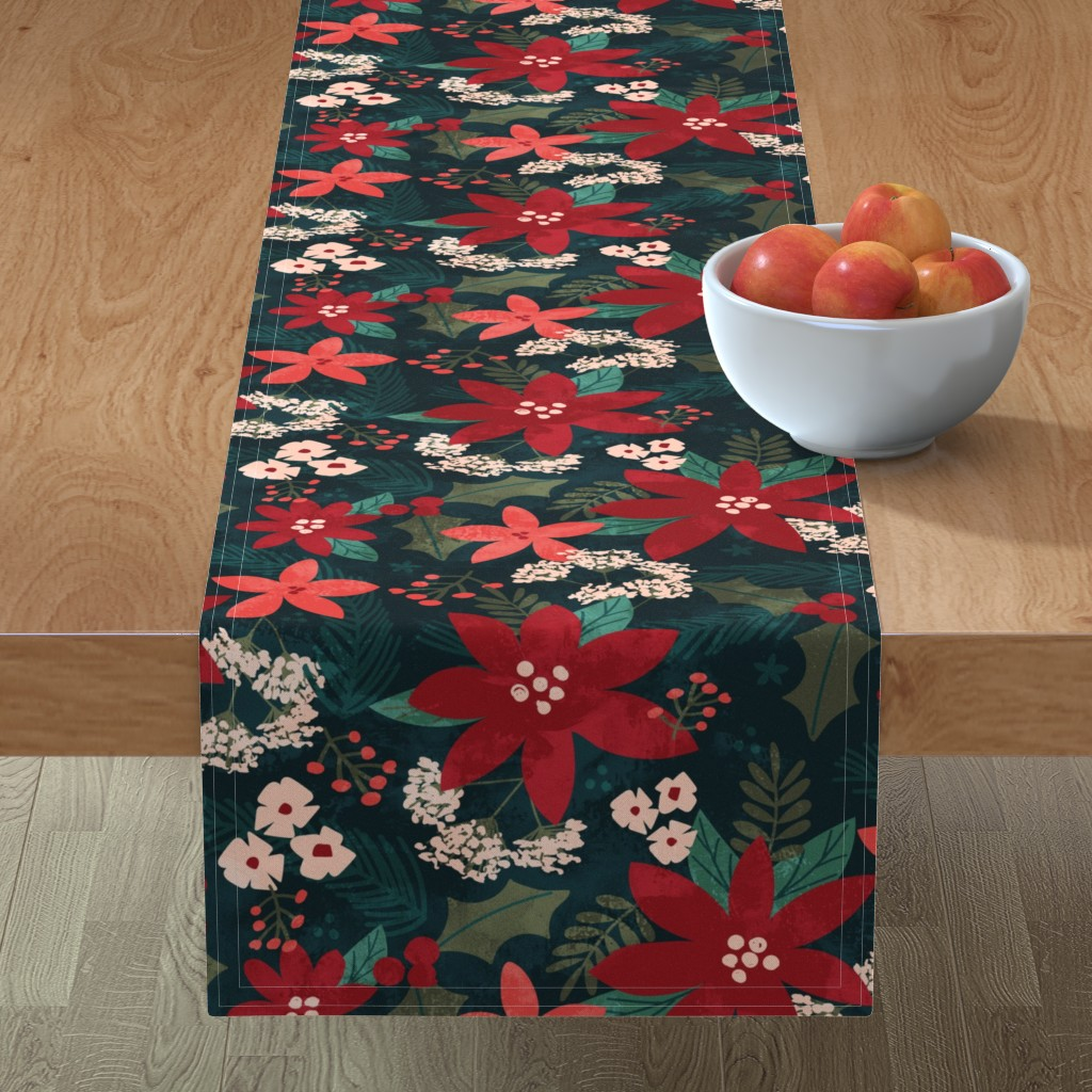 Minorca Table Runner featuring Holiday Floral by jenflorentine
